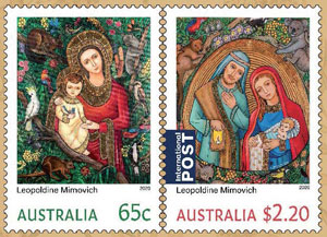 Image of the 2020 Christmas Stamp Pack consisting of two stamps.